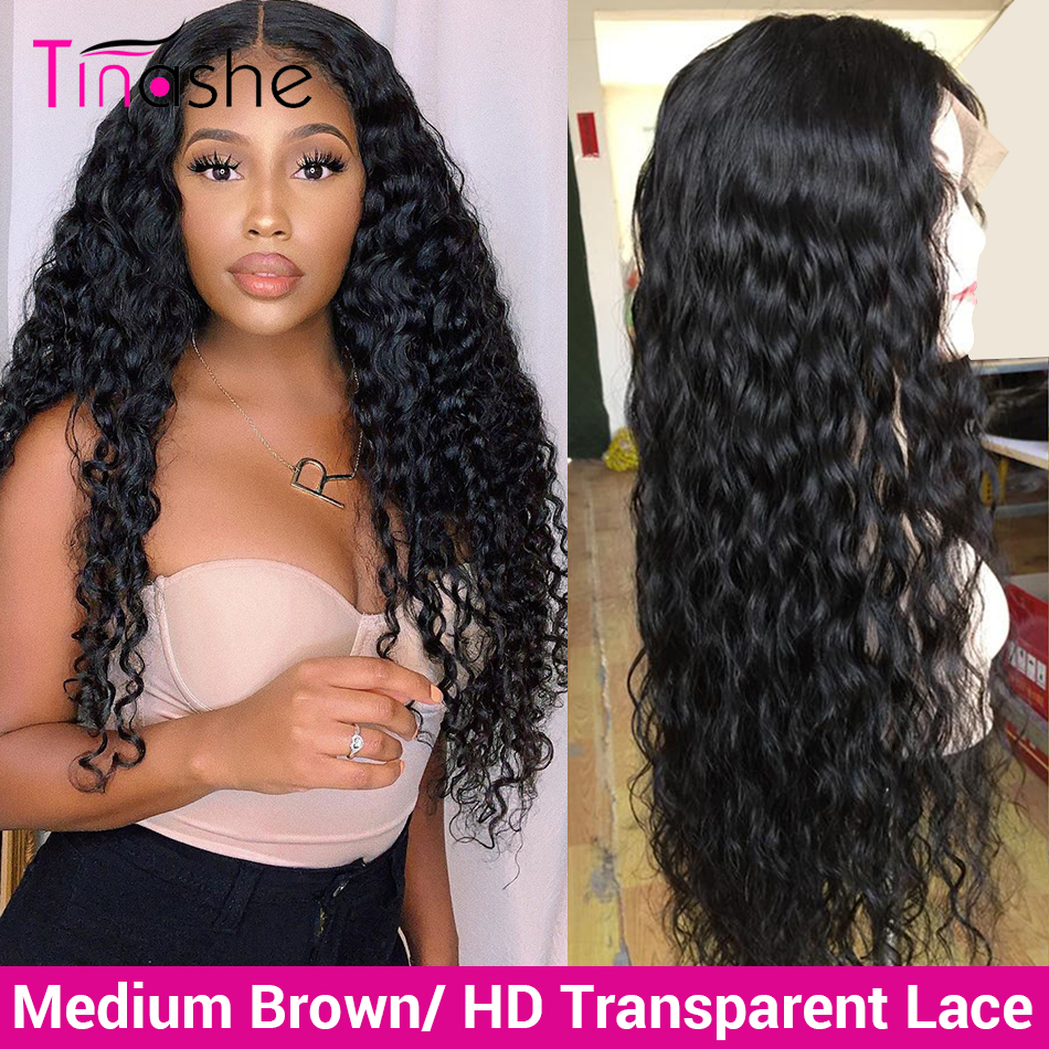 Tinashe Wig Hd Lace-Frontal Human-Hair Water-Wave Curly 250-Density Transparent 360 title=