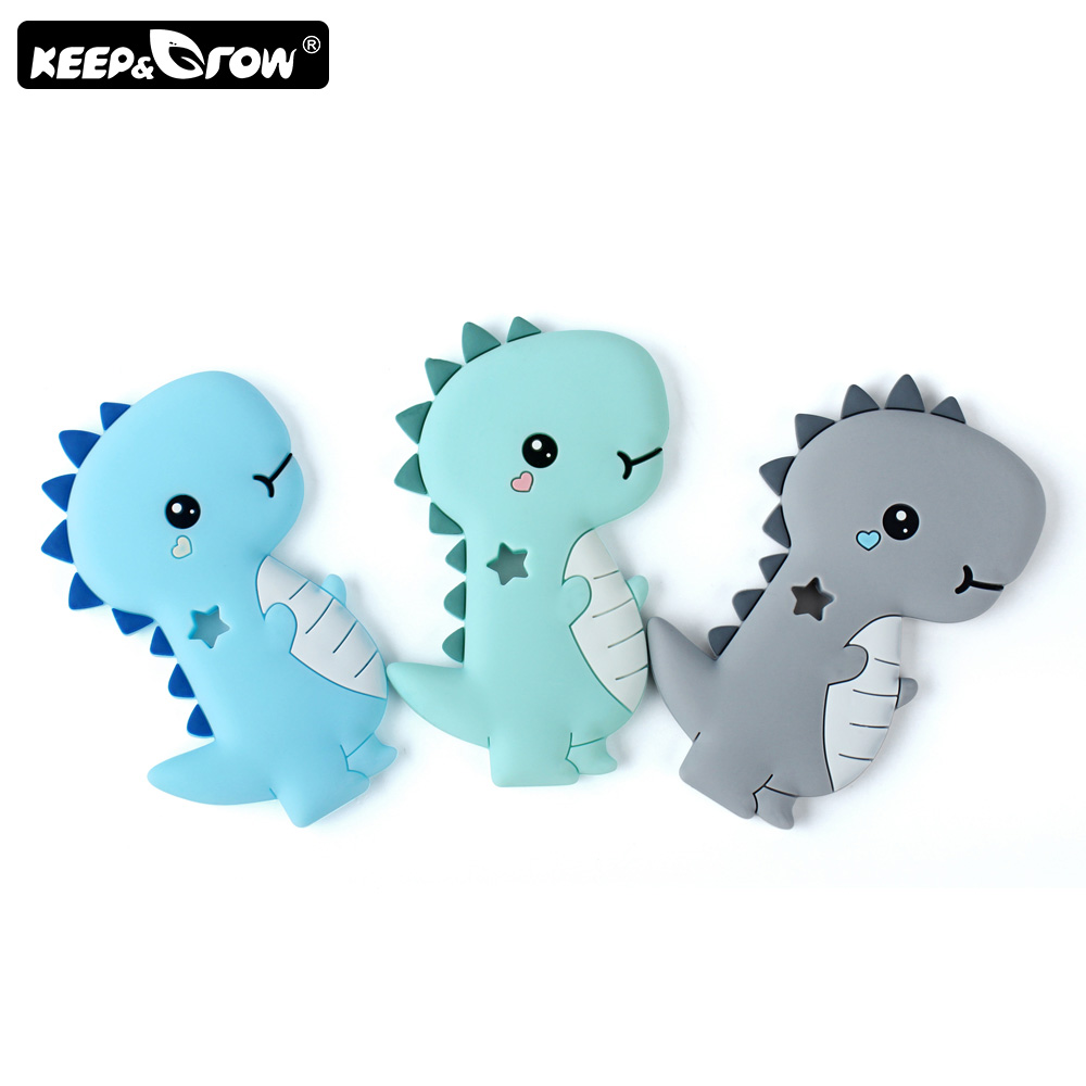 Keep&Grow 1pc Rodent Silicone Teether Cartoon Dinosaur Baby Teethers Teething Toy BPA Free Food Grade Silicone Teether Bead
