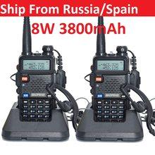 2pcs real 8W 3800mAh Baofeng uv 5r Walkie Talkie CB radio communicador Baofeng UV-5R for hunting