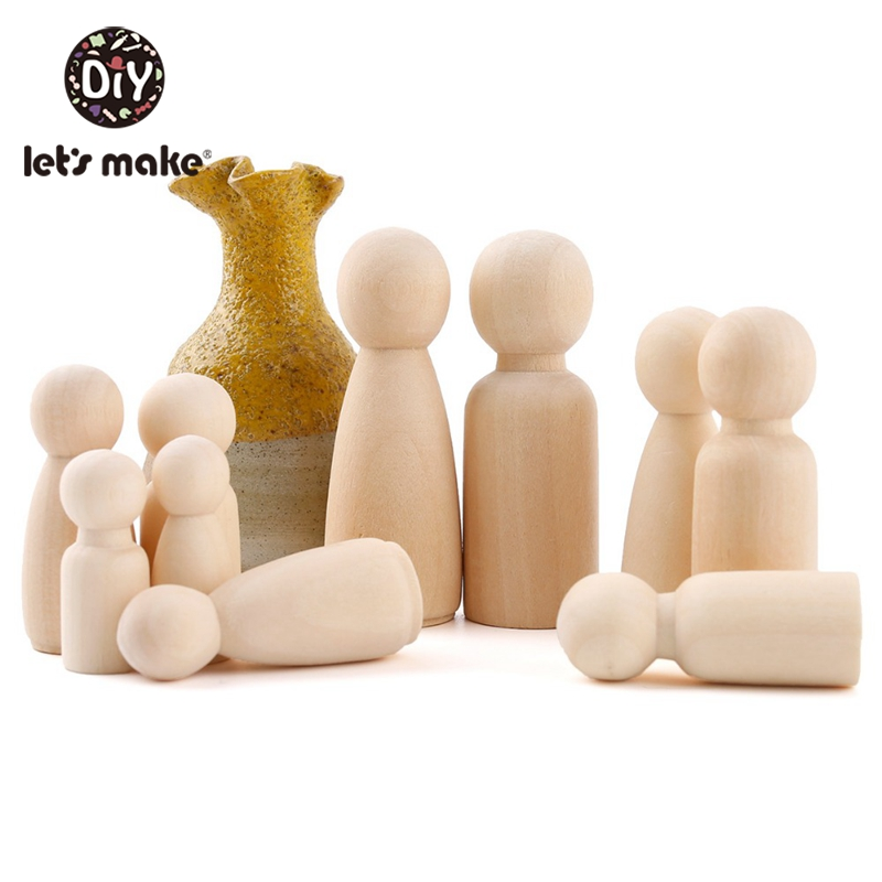 10PCS 55mm Peg Dolls Men And Woman Wood Family Dolls Kids Room Decor Birthday Gift Handmade Wooden Blank Children'S Goods Toys
