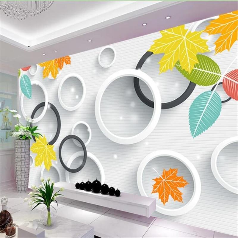 Custom Wallpaper Fresh And Elegant 3D Circle Leaves Modern Minimalist Living Room Bedroom TV Background Wall 3d Papel De Parede