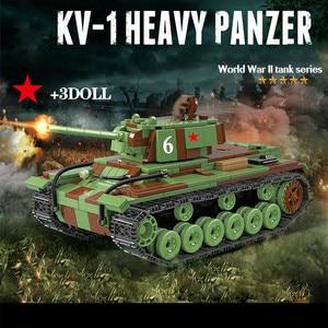 Image 1 - 726 sztuk wojskowy rosja KV 1 Tank Building Blocks WW2 wojskowy czołg żołnierze sił zbrojnych figurki broń części cegieł zabawki dla dzieci