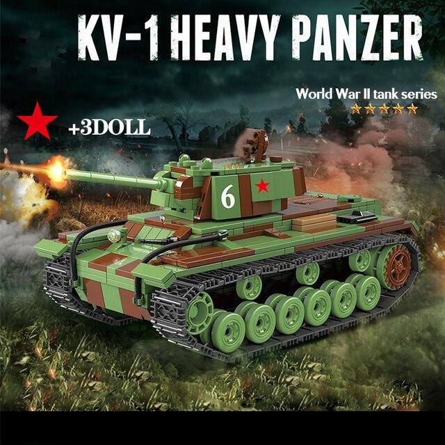 726 sztuk wojskowy rosja KV 1 Tank Building Blocks WW2 wojskowy czołg żołnierze sił zbrojnych figurki broń części cegieł zabawki dla dzieci