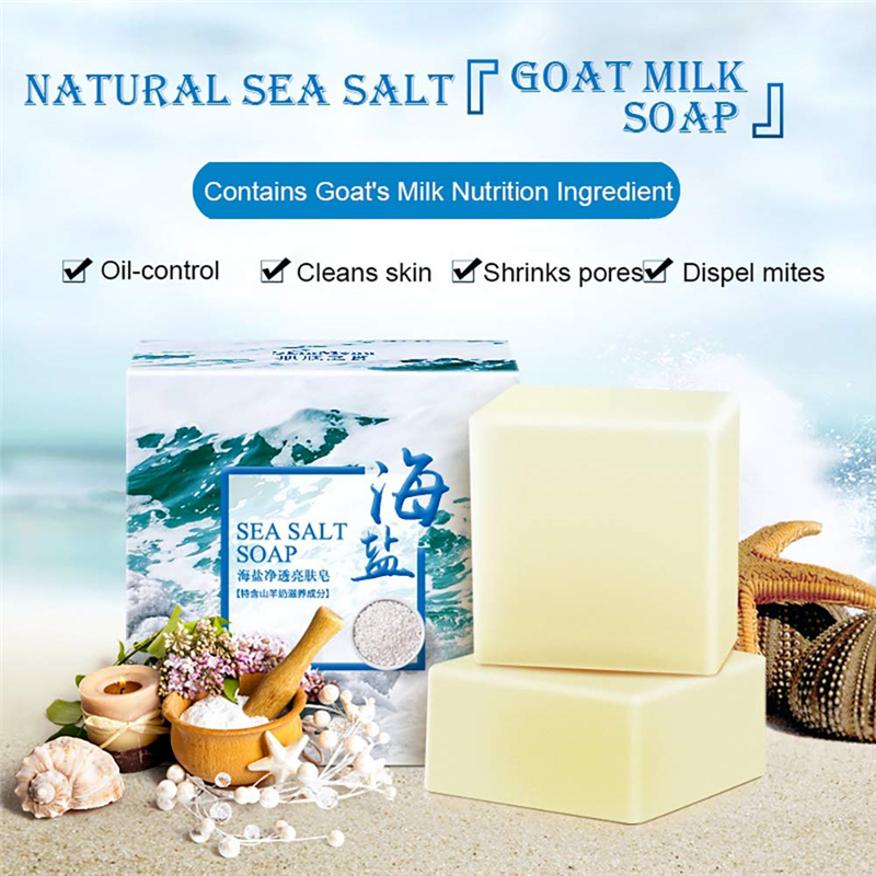 Natural Sea Salt Soap Cleaner Removal Pimple Pores Acne Treatment Goat Milk Moisturizing Face Body Skin Care Wash Basis Soaps