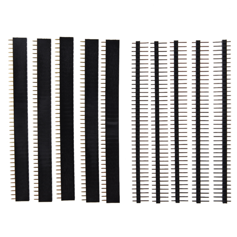 5 PCS Pack 40 Pin 2.54mm Single Row Straight Male + Female Header Strip black