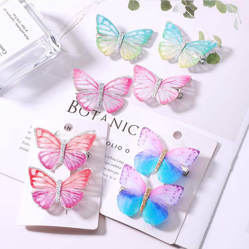 Baby Children Girl 1or2 Pcs Sets Hair Pin 9 Colors Sweet Candy Color High Quality Butterfly Grips Fashion Accessories Hairpin