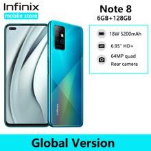 Infinix nota 8 6gb 128gb telefone móvel helio g80 octa núcleo 6.95 hd hd hd + tela cheia 64mp quad câmera 5200mah bateria smartphone