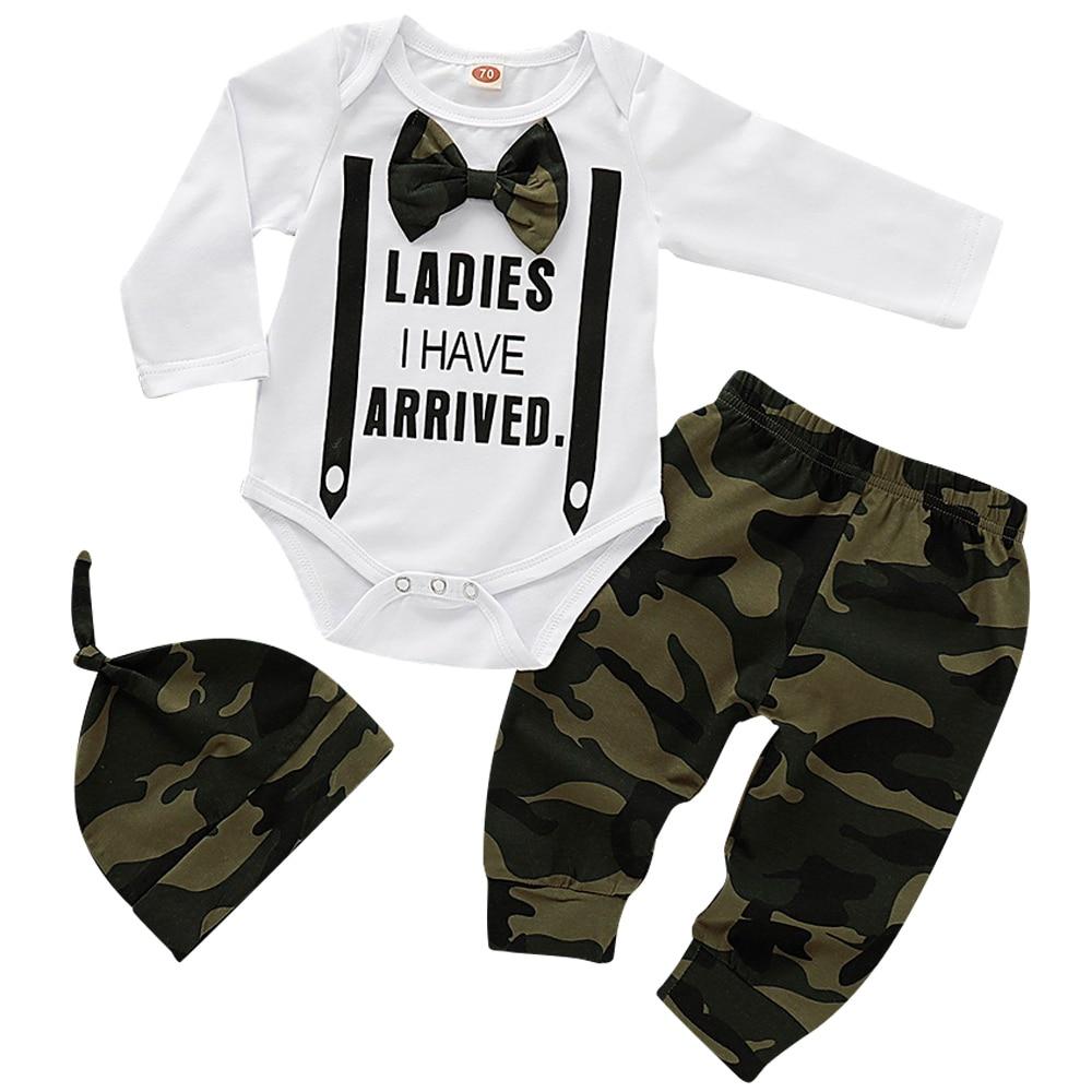 Cute 3PCS Set Newborn Baby Boy Clothes Lovely bowtie kids Cotton Bodysuit Tops Long Pants Hat Outfits Clothes Set  0-18M D30