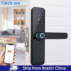 Brasil almacén Tuya huella dactilar inteligente cerradura de la puerta Digital de seguridad cerradura electrónica WiFi APP contraseña RFID desbloquear de seguridad para el hogar