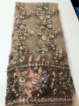 Latest Evening Dress Material French Net Lace Fabric Embroidery Tulle Lace Material With Beads QN142(5Yards/Lot)