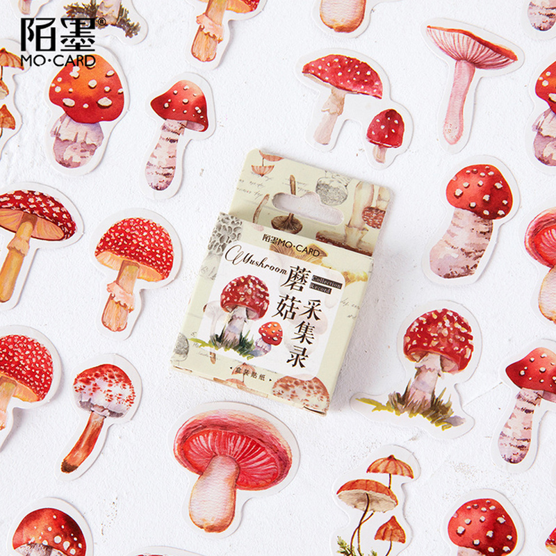 45 Pcs/Box Mushroom Plant Mini Decoration Paper Sticker Decoration DIY Album Diary Scrapbooking Label Sticker