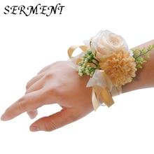 Bride wrist flower wedding simulation brooch fabric bridesmaid sister hand 15cm accessories