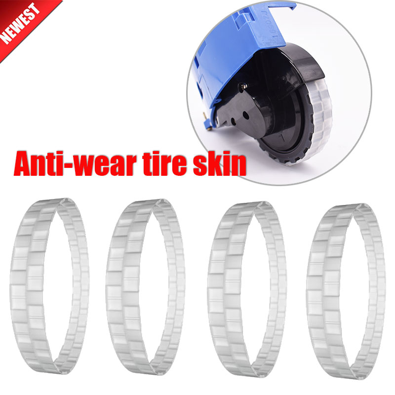 Robot Vacuum Cleaner Anti-wear Tire Skin Accessories Kit For IRobot And Xiaomi Mijia 1S 2S T4 T6 1C Roborock S50 S55 S6 S5max