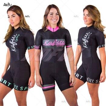 Kafitt ciclismo esporte triathlon mulheres skinsuit menina macaquinho macacão maillot ciclismo roupas ropa ciclismo roupa de treino 1