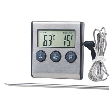 Digital Kitchen Thermometer LCD Display Long Probe Alarm for Grill Oven Food Barbecue Termometer