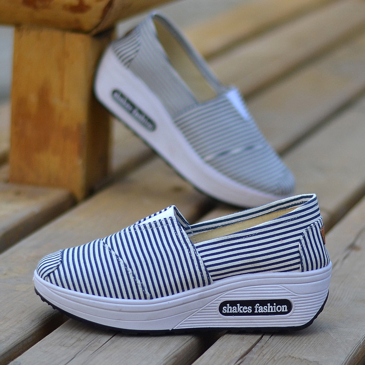 New Style Stripes Versatile Rocking Shoes Women's Canvas Shoes Comfortable Old Beijing Cloth Shoes