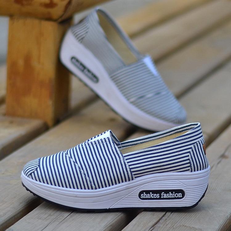 New Style Stripes Versatile Rocking Shoes Women's Canvas Shoes Comfortable Old Beijing Cloth Shoes
