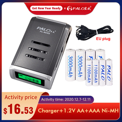 1.2V AA 3000mah 1.2v AAA 1100mah Ni-Mh Nimh Ni Mh Rechargeable Battery with 4 Slots LCD Smart Charger for AA / AAA Batteries
