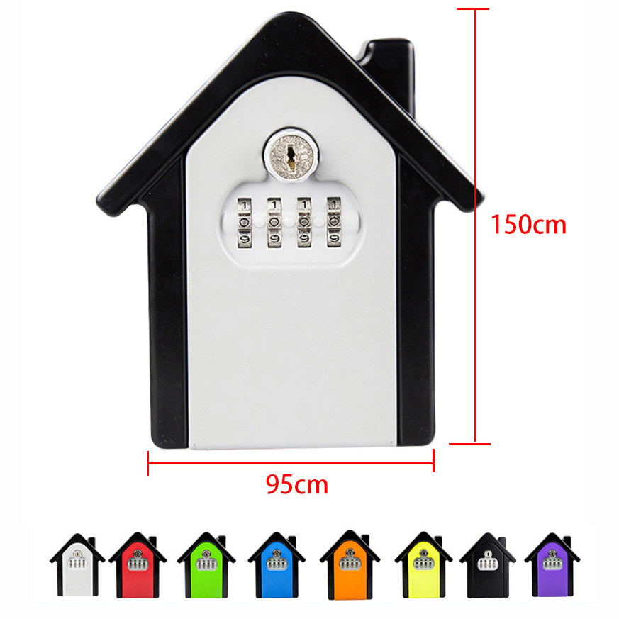 Family Outdoor Safety Keys' Storage Box Security Wall Mounted Combination Lock Box Key Safe Box Password & Key Lock Home