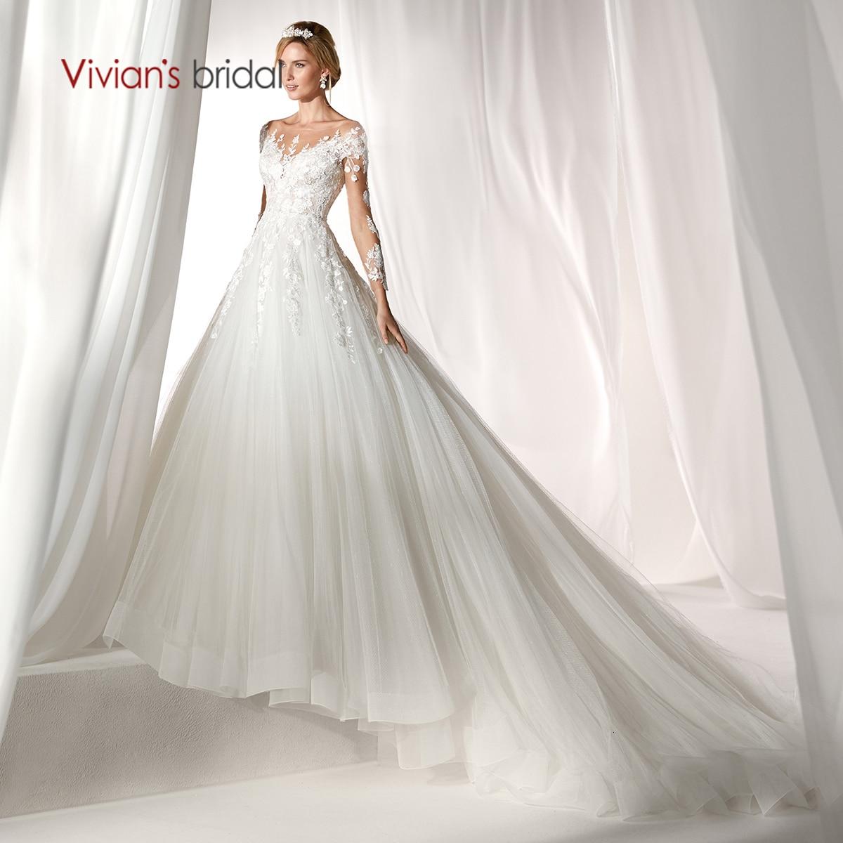 Vivian's Bridal Elegant Lace Appliques Soft Tulle Wedding Dress 2019 Vintage Illusion Mesh Court Train Fluffy Robe De Mariee