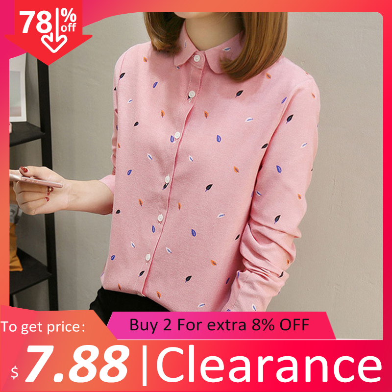 2020 Spring Clearance Women Cotton White Shirt Summer Leaf Print Blouse Turn Down Collar Casual Tops Feminina Blusas T02607F