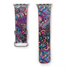 цена на Leather Strap For apple watch 4 3 5 band 44mm 40mm  apple watch band flower print correa iwatch 5 42mm/38mm wrist Bracelet belt