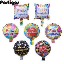 10 pçs/lote 10 polegada 10 polegada espanhol feliz aniversário cumpleanos folha balões mylar golobs festa de aniversário decoração globos