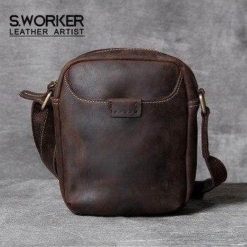 S.WORKER Vintage Genuine Leather Men's Shoulder Bag Mini Casual Crossbody Bag Cowhide Minimalist Classic Crazy Horse Phone Bag