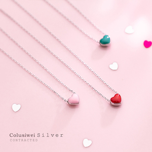 Colusiwei Silver Simple Cute Enamel Heart Short Necklace for Women Genuine 925 Sterling Silver Korea Style Fashion Jewelry(China)