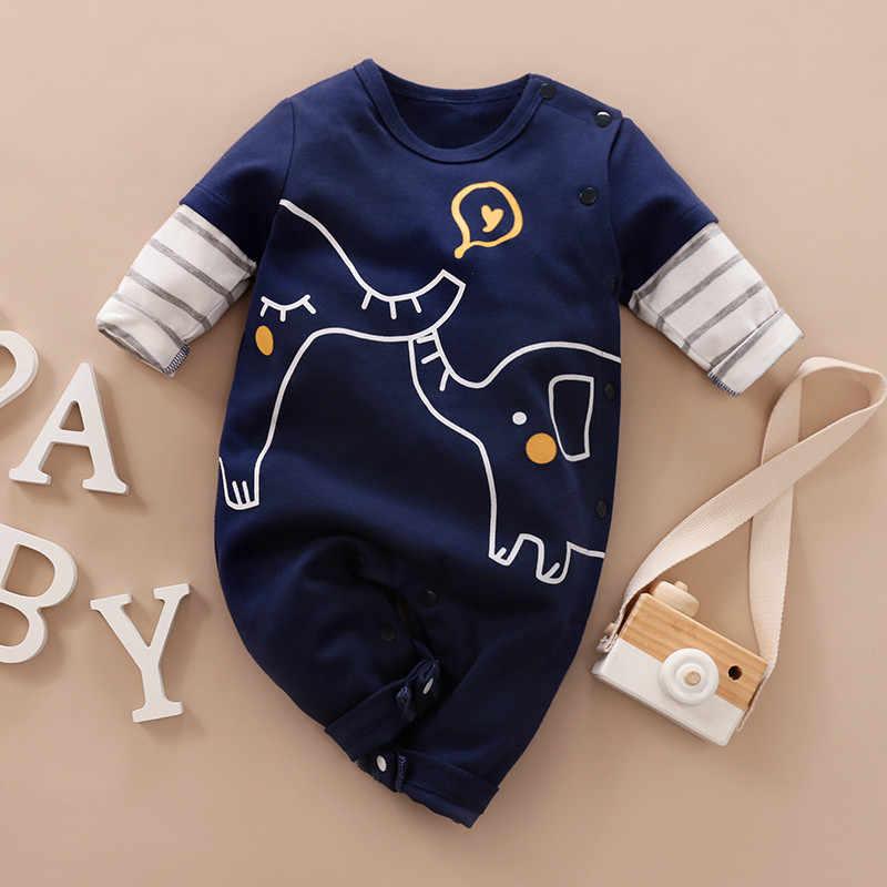 PatPat Baby Junge Mädchen Neugeborenen Baumwolle Elefanten Lange-sleeve Overall Bottom Snap Frühling und Herbst Rundhals Baumwolle