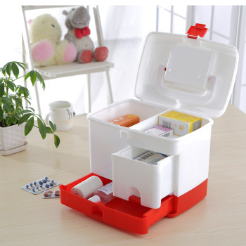 3 Layer Medicine Drawer Health Box First Aid Kit Storage Bin Organizer Model Case Portable Large Capacity