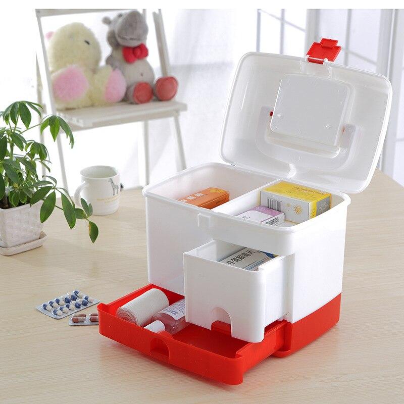 Size : 30X18X19CM WLL Grande Caja De Medicina 3-Capa Armarios De Medicinas Port/átil Farmacia Organizador Botiquin De Primeros Auxilios Plata