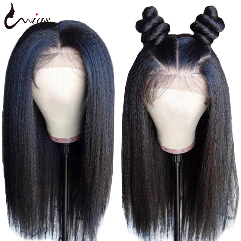 Uwigs 4x4 Closure Wig Remy Yaki Human Hair Wigs Pre Plucked With Baby Hair 8-26 Inch Brazilian Kinky Straight Wig 180 Density