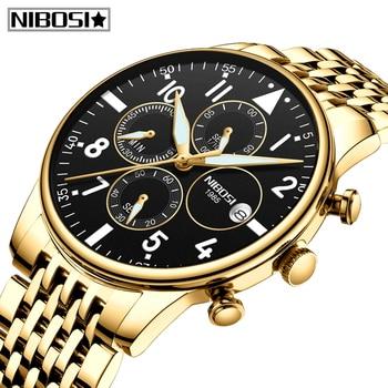 цена на Relogio Masculino NIBOSI Mens Watches Waterproof Quartz Business Men Watch Top Brand Luxury Clock Casual Military Sport Watch