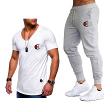 2019 New High Quality Brand Men Pants Suit Tops Tees Fashion Print Tshirt Sportswears 2 Sets Sportswear
