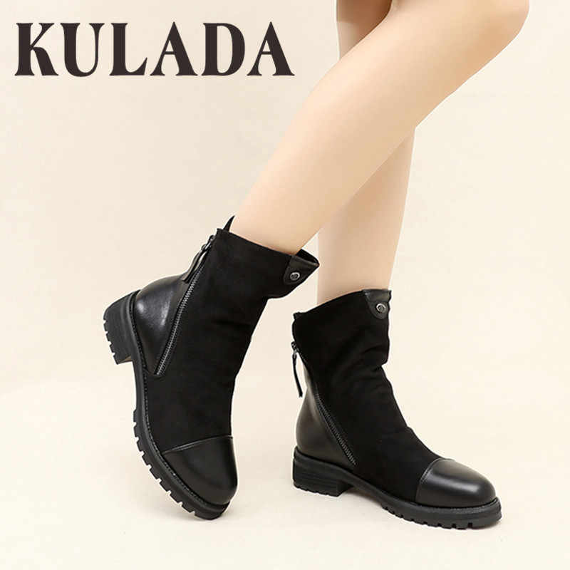 KULADA Boots Women Fashion Suede Leather Boots For Women Faux Suede Flat Mid-Calf Boots Spring Autumn Women Boots Black Shoes