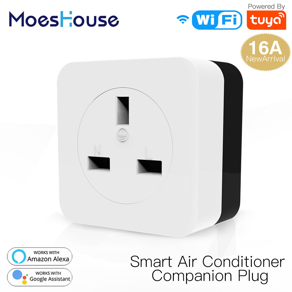 WiFi Smart 16A Air Conditioner Companion IR Remote Controller Wall Plug Smart Life Tuya App Control Work With Alexa Google Home