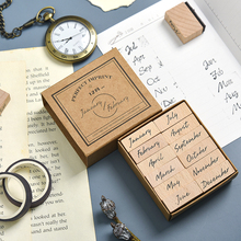 Symbol-Stamp Week-Planner-Stamp Hand-Account-Month Stationery Office-Supplies Wooden
