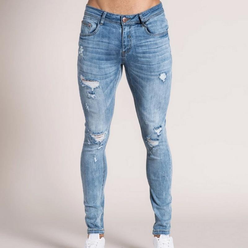 Washed Denim Men Pants Skinny Hip Hop Jeans Streetwear Casual Black Blue Men Jeans Pants Slim Stretch Biker Pencil Denim Trouser