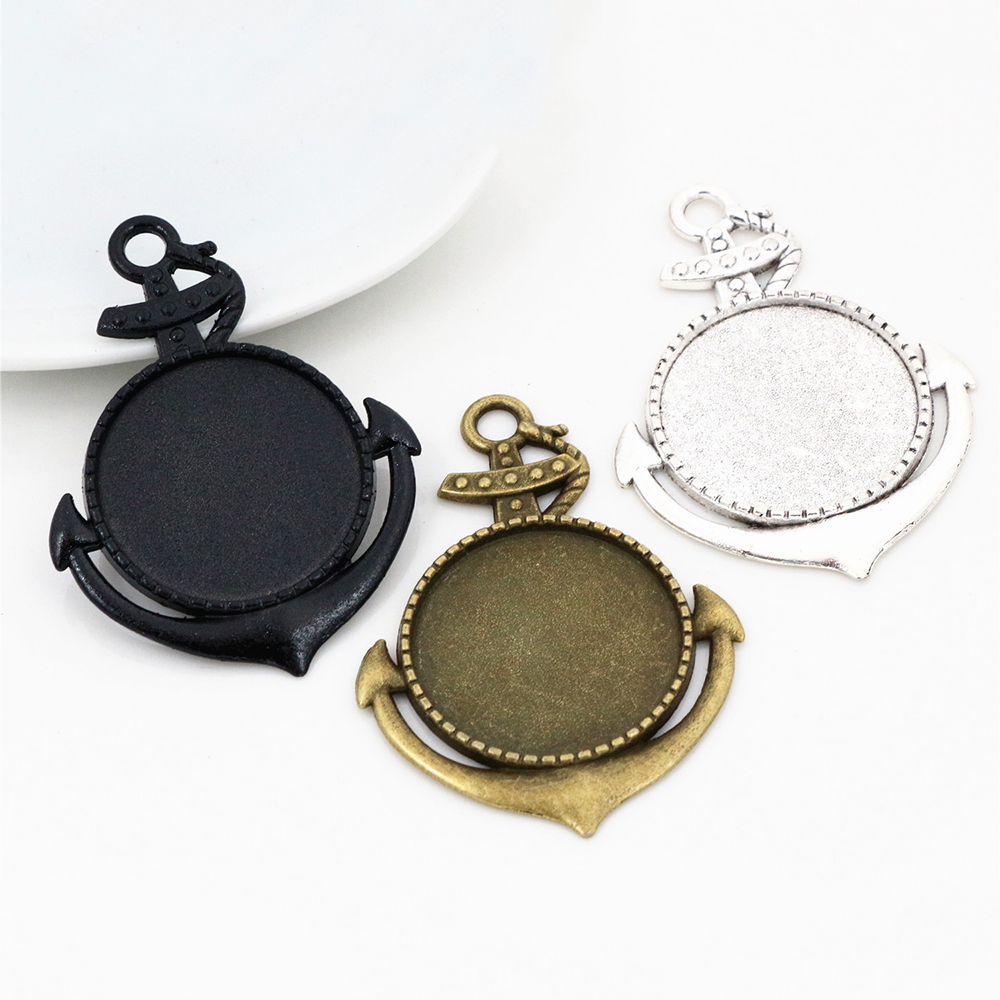 New Fashion 5pcs 25mm Inner Size Black And Antique Silver Plated And Bronze Vintage Cabochon Base Setting Charms Pendant