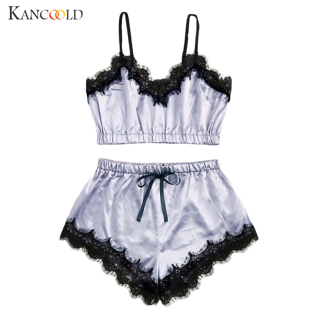 KANCOOLD brand two pieces pyjamas women sexy lingerie femme sexy lounge sets satin & lace sleepwear set image