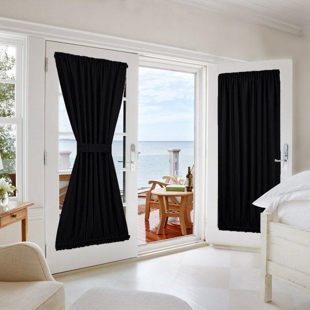 blackout rod pocket door panel for french door sliding glass door curtain one panel room darkening including bonus tiebacks