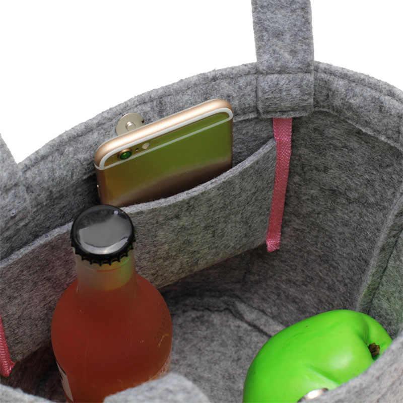2019 frauen Mittagessen Taschen Damen Kleine Trage Feste Farbe Lebensmittel Taschen Filz Kleine Handtaschen Mädchen Picknick Taschen Multifunktions Tote