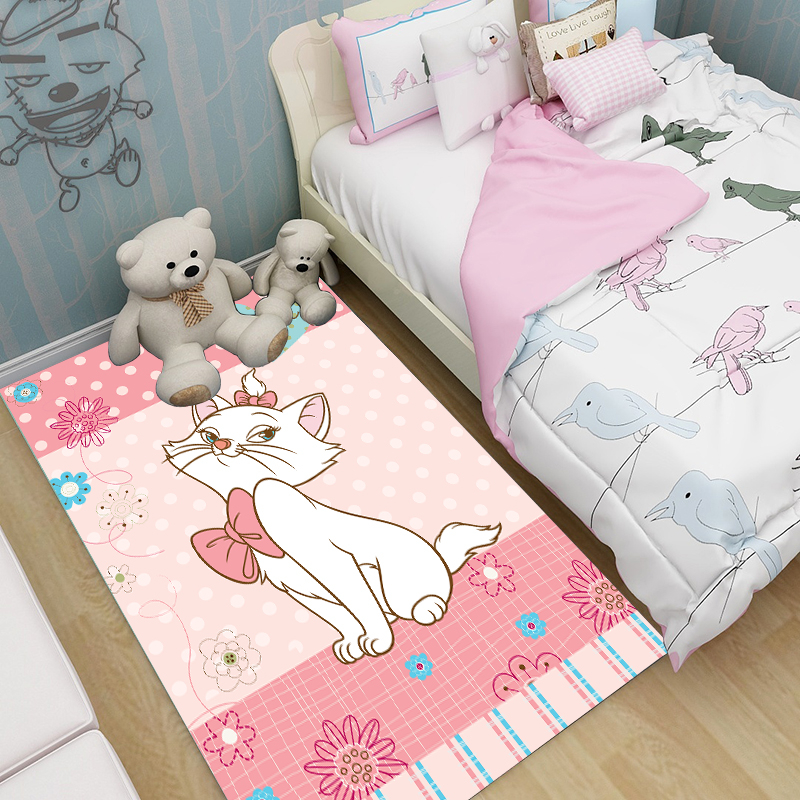 Pink Cat/Brown Bear Cartoon Rug Soft Cozy Resin Thicken Kids Children Play Crawling Carpet For Living Room Large Rugs Doormat