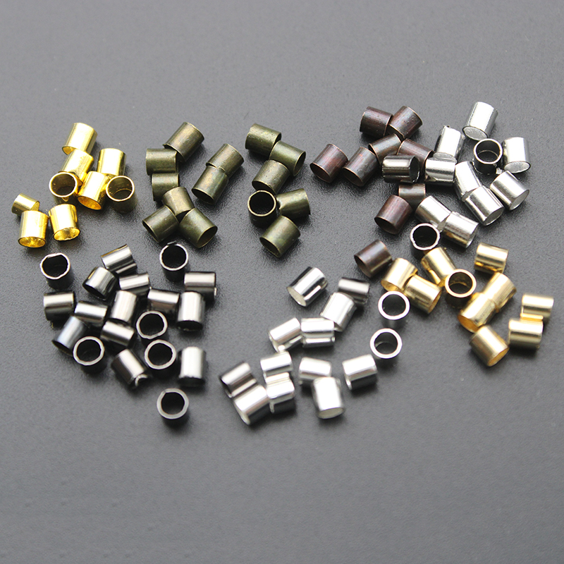 500pcs/lot Dia 1.5 2.0 2.5mm Gold Silver Copper Tube Crimp End Beads Stopper Spacer Beads For Jewelry Making Findings Supplies(China)