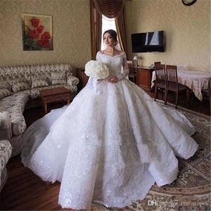 Image 4 - Sparkly Crystal Beaded Ball Gown Wedding Dresses Luxury Off Shoulder Appliqued Plus Size Saudi Arabic Dubai Bridal Gown