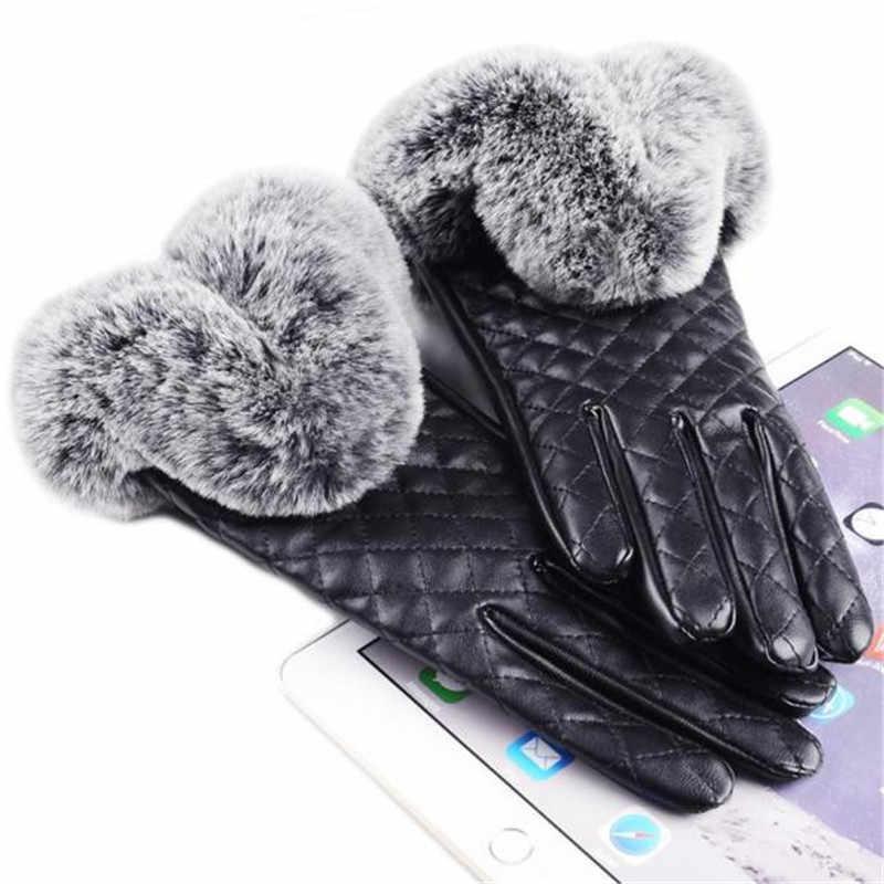 Mulheres espessamento luvas de inverno à prova de vento engrossar elegante couro de alta qualidade do falso pele pulso quente luvas de couro feminino guantes