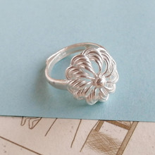 Hollow Out Flower 999 Sterling Silver Rings For Women Engagement Ring Adjustable Handmade Luxury Jewelry Boho Miao Ethnic