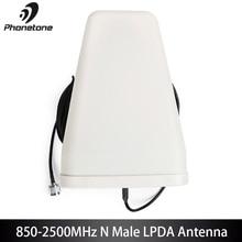 Antena exterior de 800 2500 mhz lpda para o amplificador 10dbi gsm 3g direcional do impulsionador do sinal do telefone celular lte & conector masculino do cabo n de 10m
