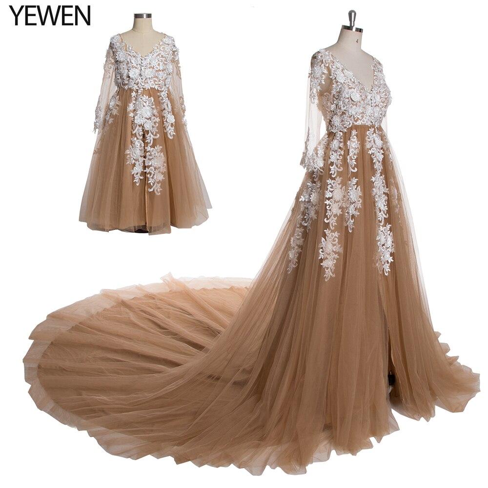2M Train dentelle grossesse robe avec manches rose Prom grande taille robes de soirée longue de luxe mère et enfant robes formelles YeWen